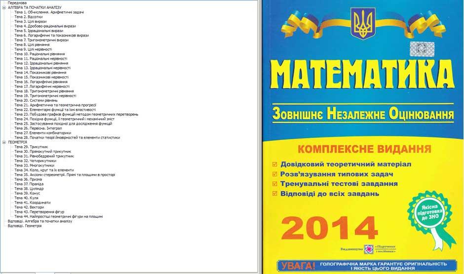 Для підготовки до зно 2014 з математики